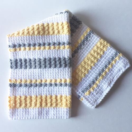 Crochet Gray & Yellow Bobble and Mesh Stitch Blanket - Free Pattern