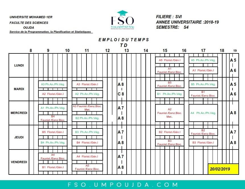 Emplois du Temps des TDs SVI S4 - Session Printemps 2018/2019