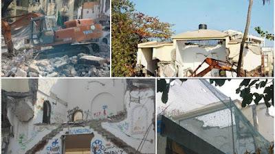 राजेश खन्ना के बंगले को तोड़ती जेसीबी मशीन