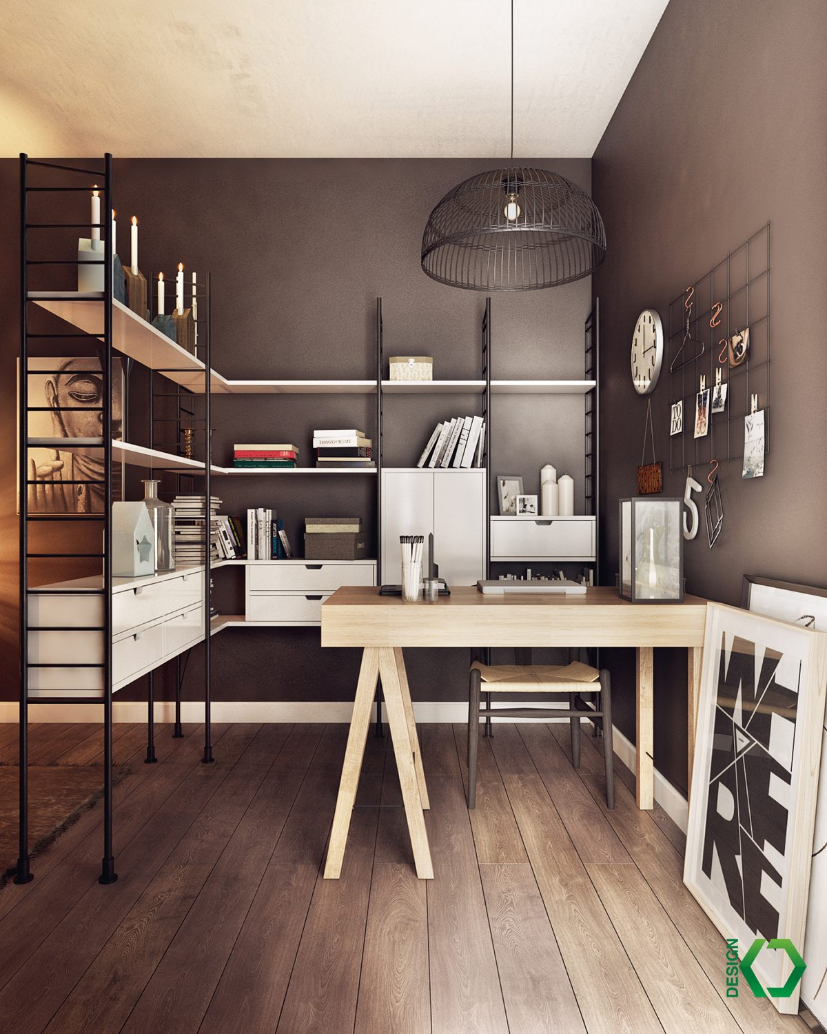 Home Office Room Design: Decordemon: A Charming Industrial Apartment Inspired By