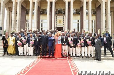 President Biya and wife host Cameroon national team for winning AFCON 2017