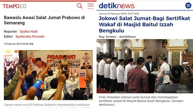 Bawaslu Awasi Shalat Jumat Prabowo, Jokowi Bagi-bagi Sertifikat di Masjid Gimana?