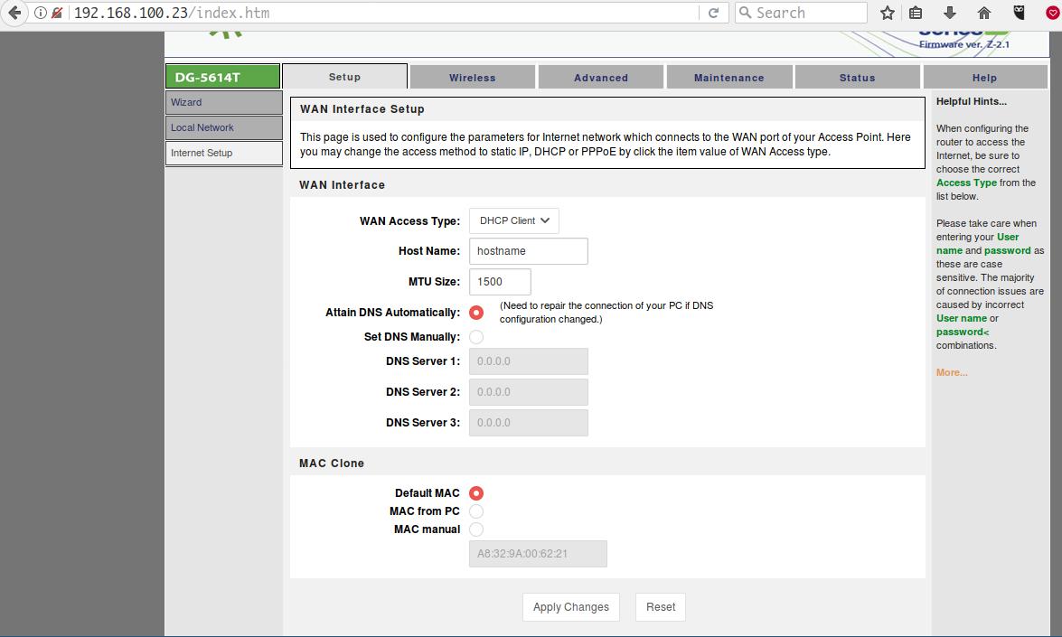 DHCP-setup