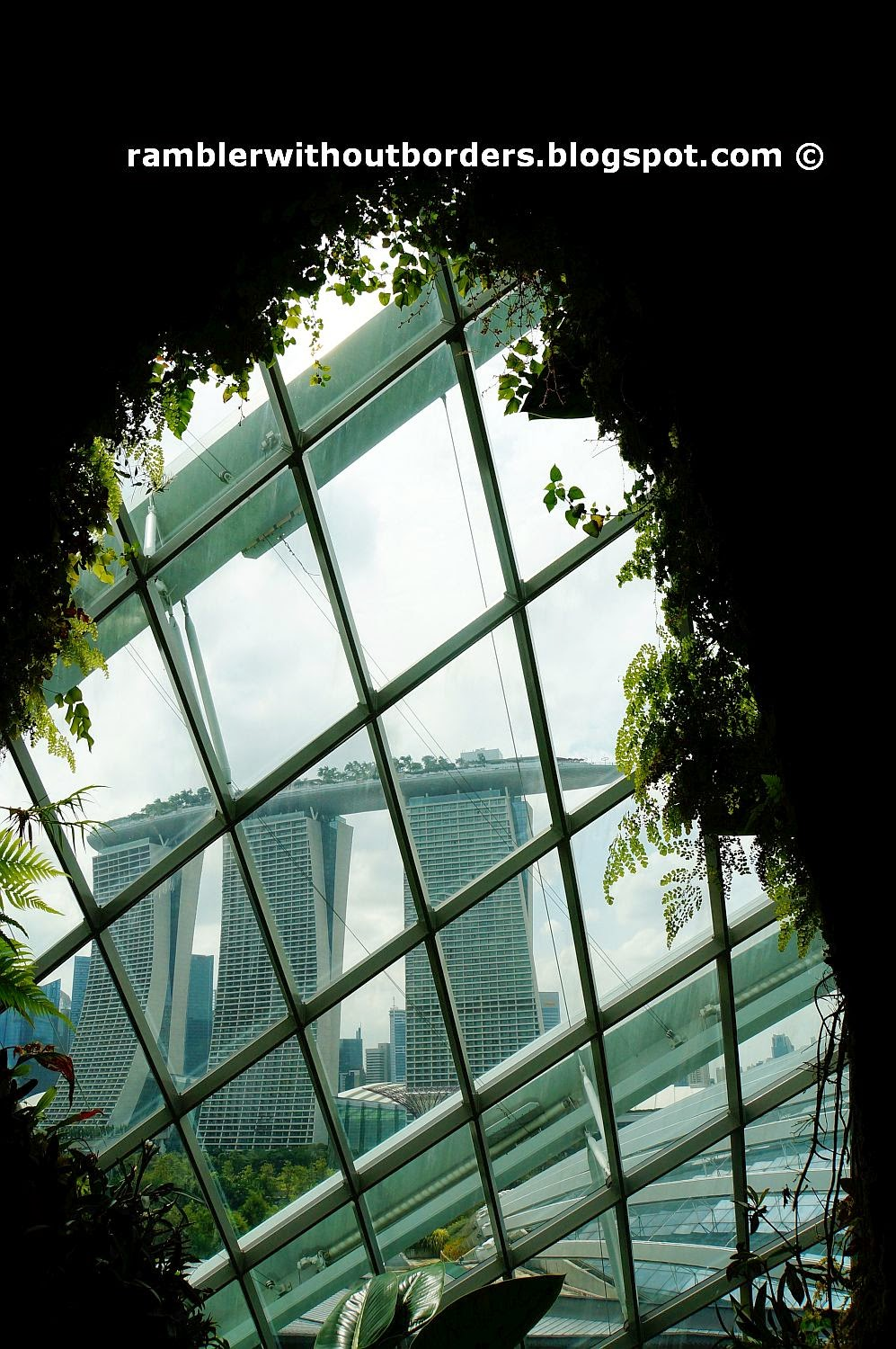 View of Marina Bay Sands from Cloud Forest Dome, Gardens by the Bay, Singapore