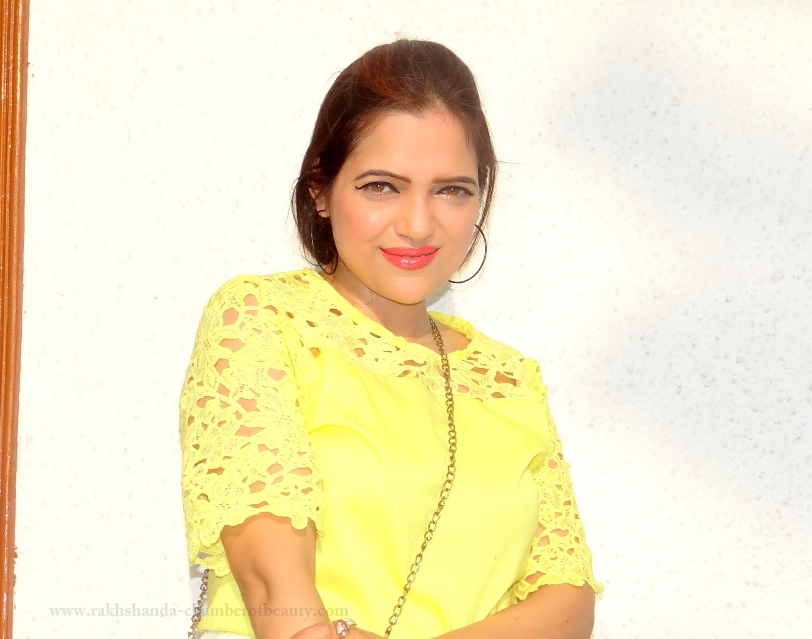 Lace on Lace-OOTD | How to style a lace top, Lace top from cndirect.com, summer fashion trends 2015, yellow lace top, Dorothy Perkins flats, Indian fashion blogger, Chamber of Beauty