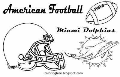 Miami Dolphins printable East American Conference football coloring images free easy boys US sports
