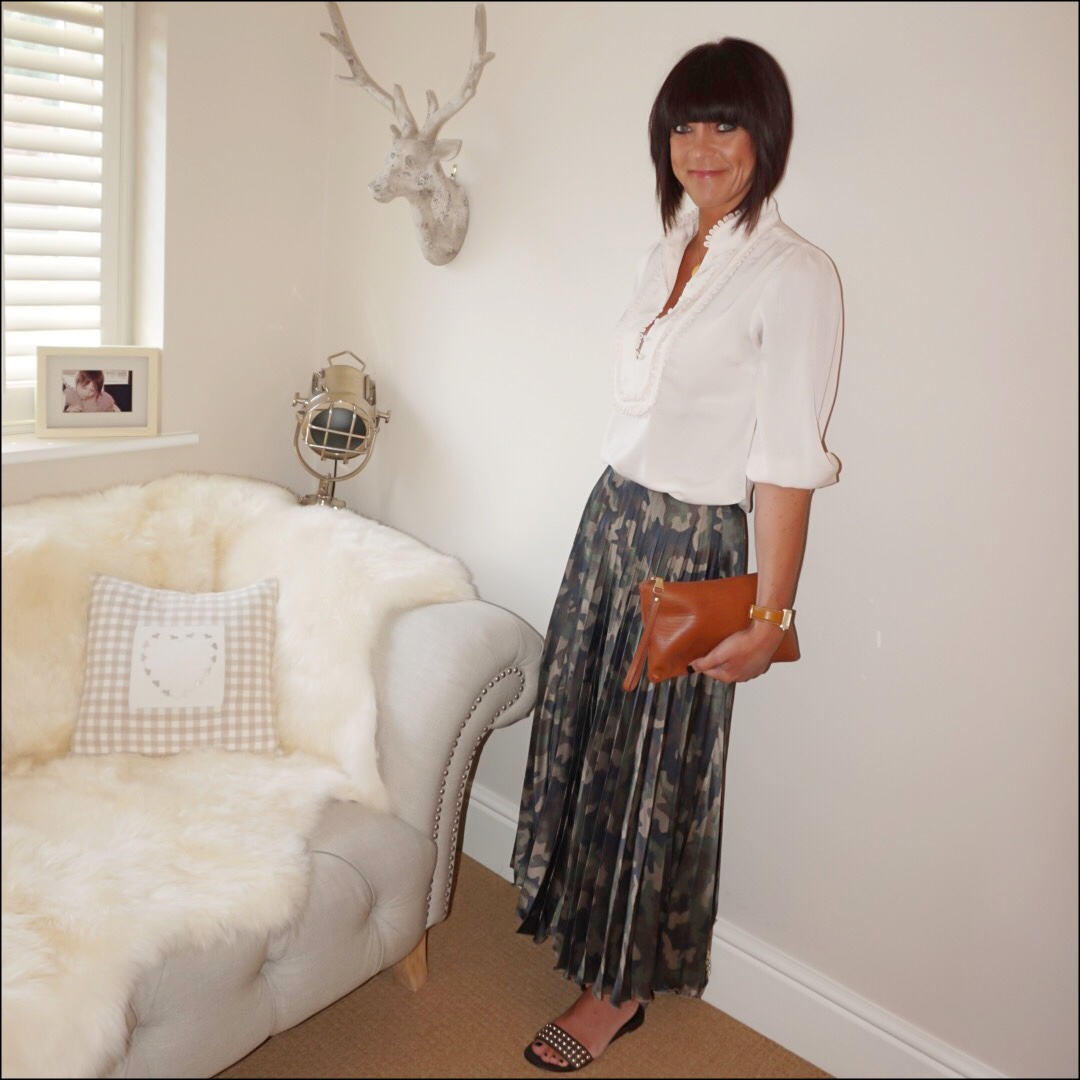 my midlife fashion, monsoon frill bib detail blouse, asos satin camouflage print pleated maxi skirt, massimo dutti leather tan clutch, ash studded sandals