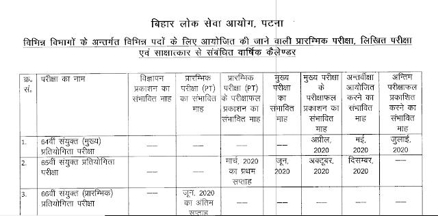 BPSC Calendar 2020 2021 pdf