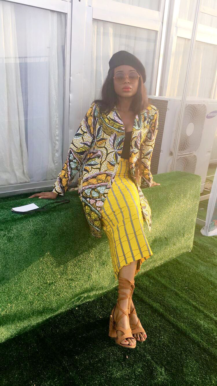 Ankara striped skirt and floral top