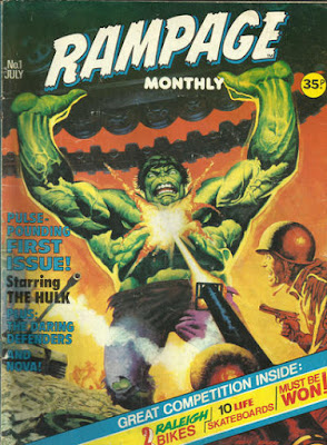 Marvel UK, Rampage Monthly #1, the Hulk attacks soldiers, with a tank