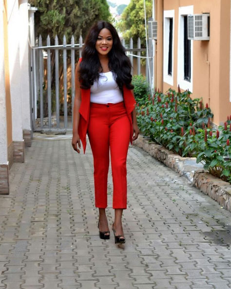 Me likey! Toyin Abraham steps out in minty red