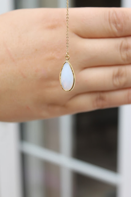 Orelia Pretty Stone Drop Lariat Necklace