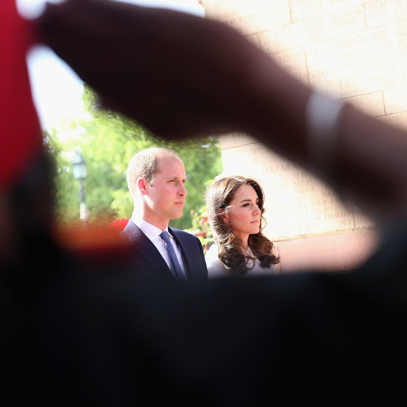 Prince William, Duke of Cambridge and Catherine, Duchess of Cambridge lay a wreath to honour the soldiers from Indian regiments who served in World War I, at India Gate