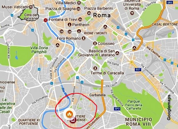 Mapa de acesso à Basílica de São Paulo Extramuros, em Roma