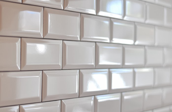 Beveled Subway Tiles Pewter Grout