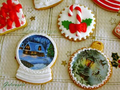 Galletas Navidad decoradas en glasa y papel de azúcar impreso