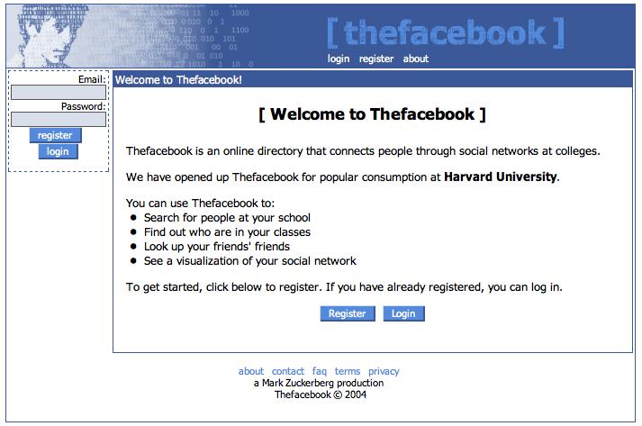 Evolusi Desain Facebook tahun 2004