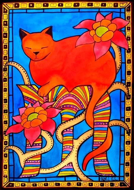 Cat Art titled Sleeping Beauty by Dora Hathazi Mendes
