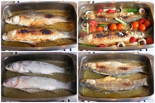 Peste chefal prajit la tigaie cu legume reteta de casa pescareasca cu rosii cherry ciupeci usturoi ceapa retete culinare mancare mancaruri cu pește preparate preparare,