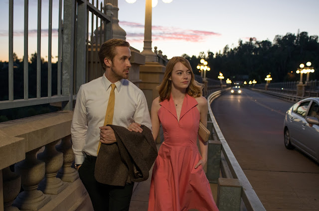 "Ryan Gosling and Emma Stone in ""La La Land"", which tied a record with 14 Oscar nominations"