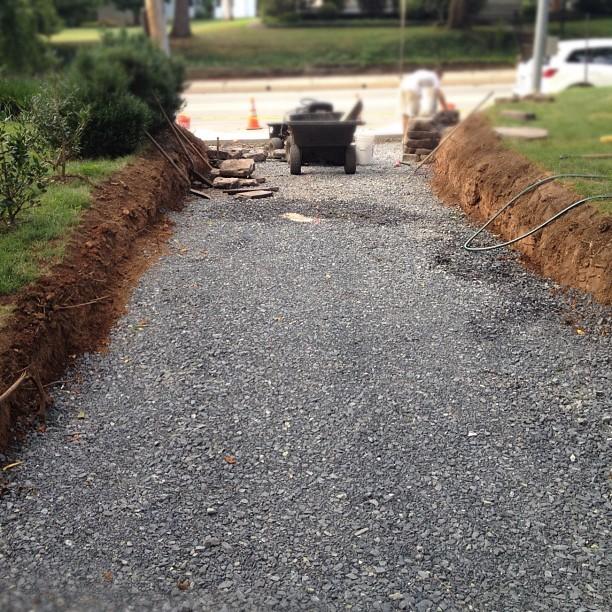 Gravel Driveway: High Street Market: Driveway Update: New Retaining Wall