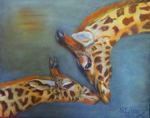 Comfort and Joy, giraffes in oils