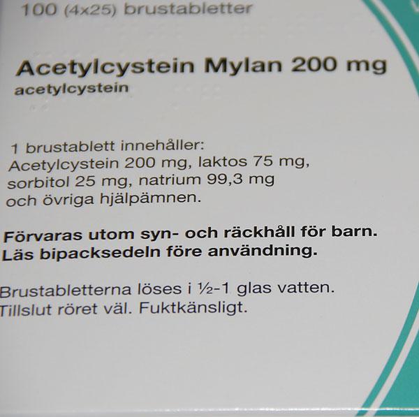 slemlösande medicin acetylcystein
