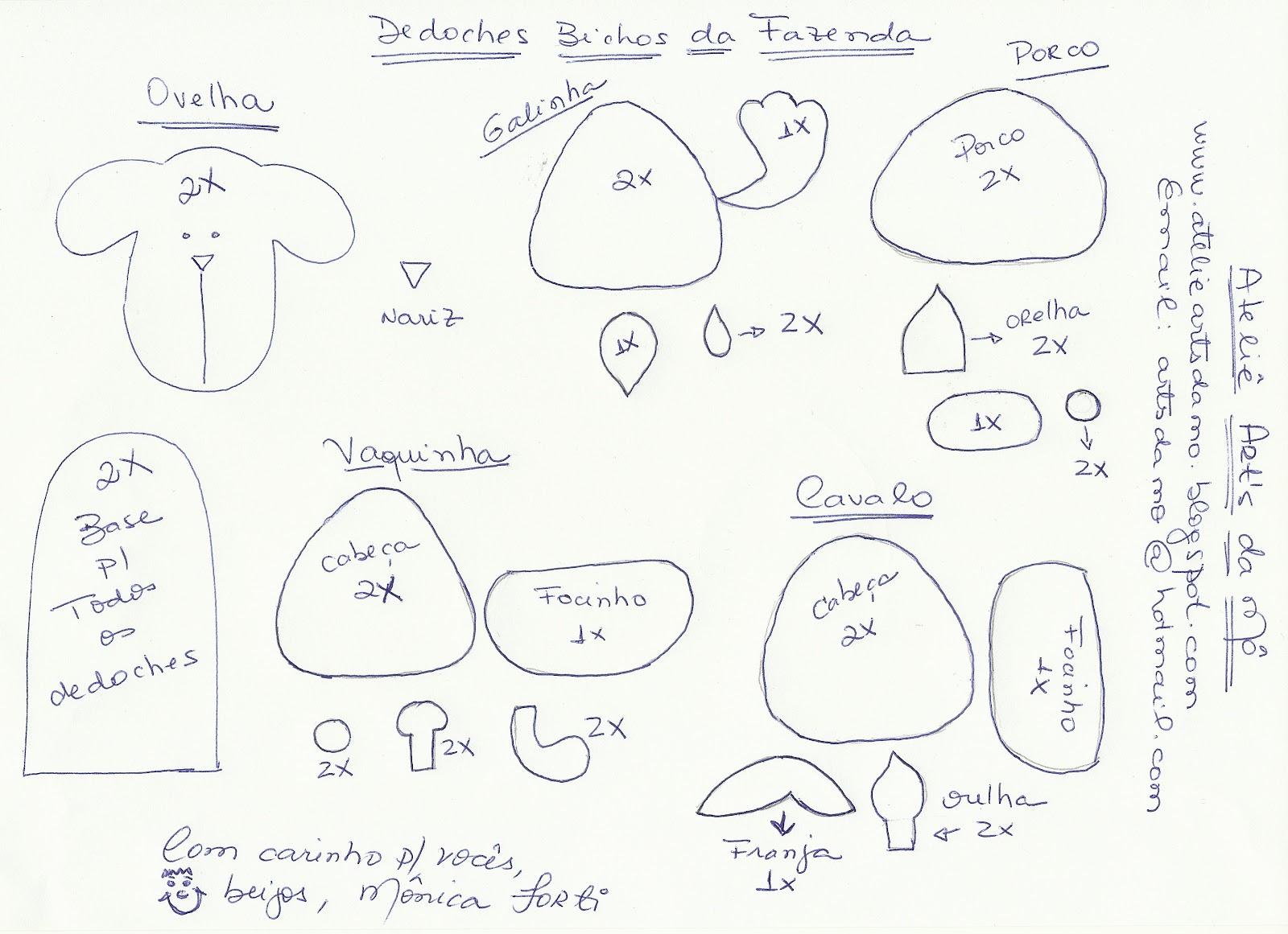 Preferência Moldes Para Artesanato em Tecido: Molde dedoches bichinhos da  NT55