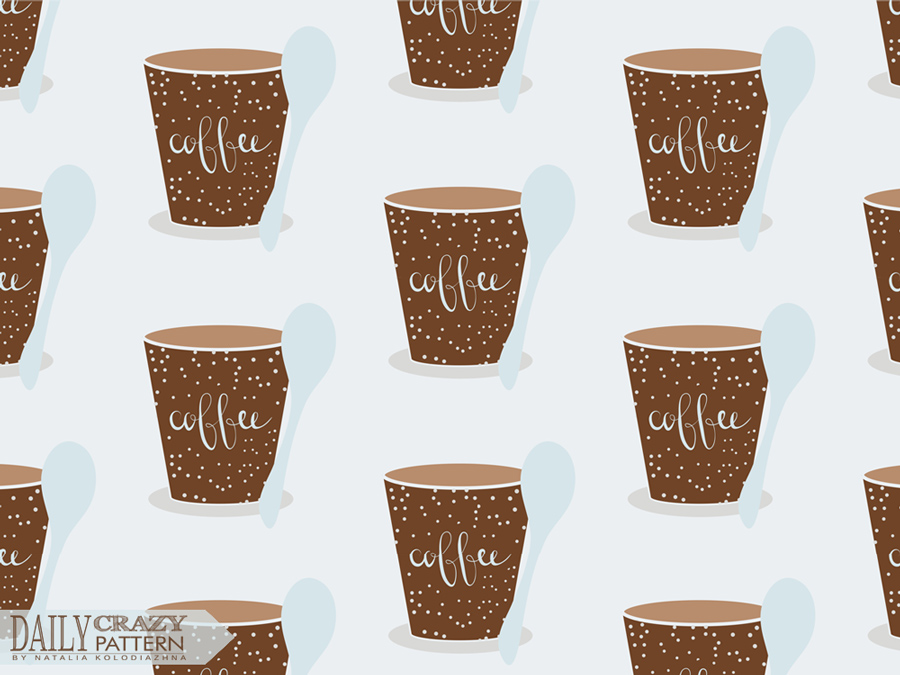 "Pattern with cute coffee cups for ""Daily Crazy Pattern"" project"