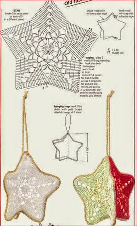 Estrellas colgantes al crochet