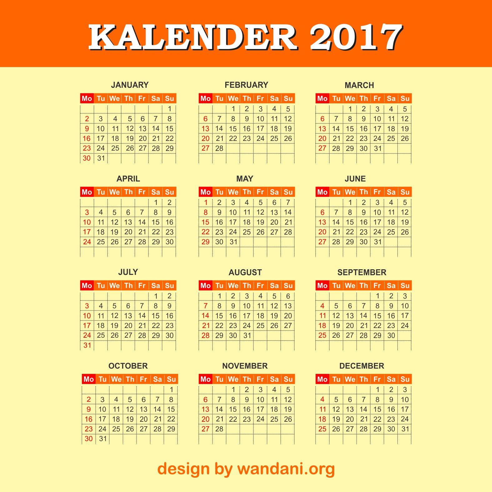 Orange 2017 Calender Design Free Vector Wandani Vector