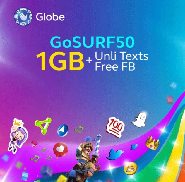 Globe Announces b1Gger GoSURF50; 1GB Data + Unli All Net Texts + Free FB for 3 Days for only 50 Pesos
