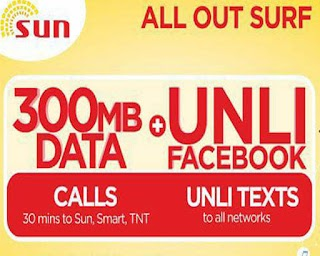 Sun Cellular ALLOUT30 All Out Surf 30 – Unli Facebook, All Net Text + 300MB