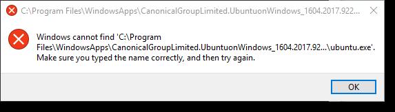 CanonicalGroupLimited.UbuntuonWindows error message