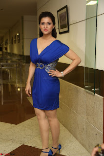 Mannara Chopra in Short Blue Dress at Rogue Movie Teaser Launch 1st March 2017 094.JPG