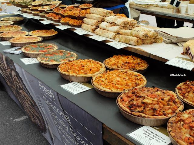 Stand de quiches & tartes healthy local, Broadway Market Dalston à Londres