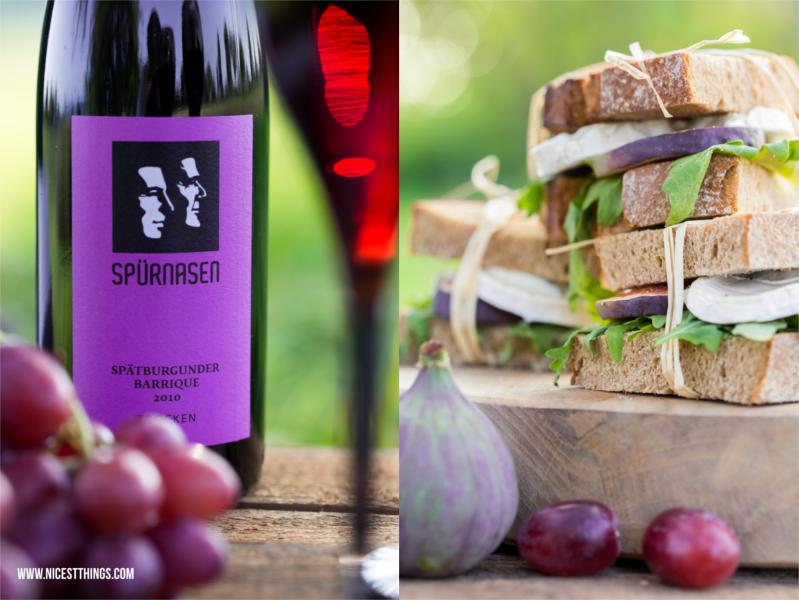 Herbstpicknick mit Ziegenkäse Feigen Sandwiches und Spürnasen Spätburgunder
