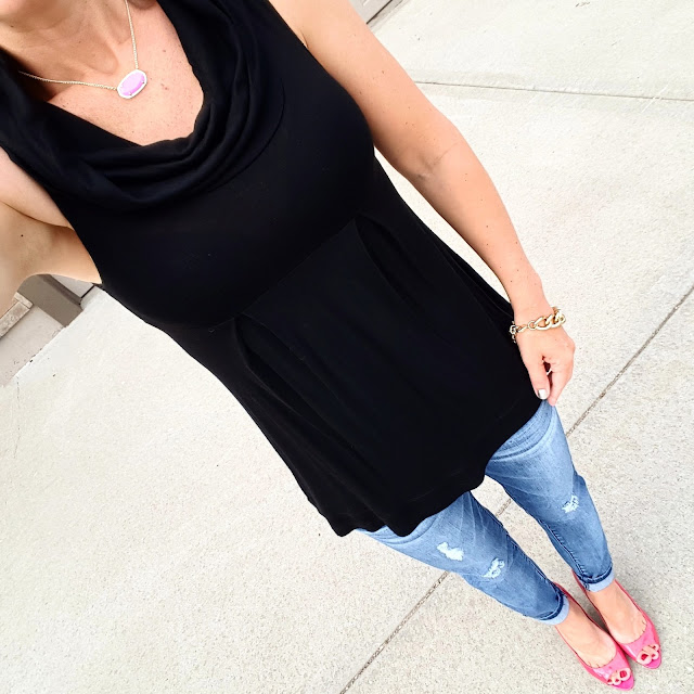 Sleeveless Cowl via Marshall's (similar) please excuse the bra that showed up for the pic // Jolt The Drifter Boyfriend Jeans - sold out (similar on sale for $37) // Michael Antonio Heels // Kendra Scott Dylan Necklace
