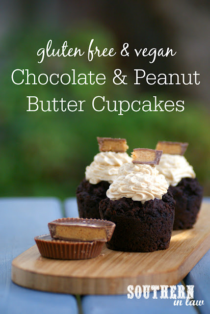 Vegan Chocolate and Peanut Butter Cupcakes - healthy, low fat, gluten free, peanut butter frosting, egg free, dairy free, peanut butter cup cupcakes, healthy birthday cakes
