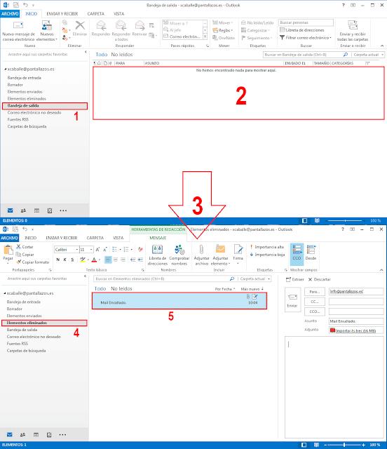 Encontraremos la Bandeja de Salida de Microsoft Outlook 2016 vacía.