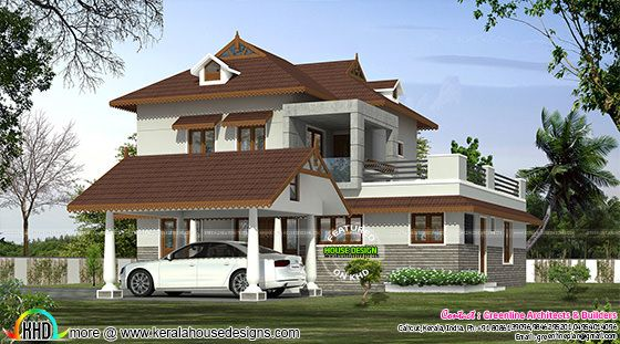 Sloped roof modern home plan 1415 sq-ft