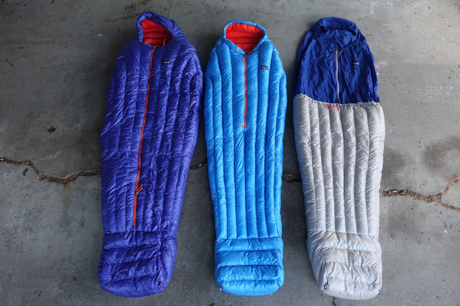 Patagonia Sleeping Bags Left To Right 19 Degree 32 9 Oz 30 26 5 And Hybrid 17 3