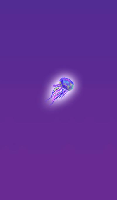 水彩パープルクラゲ