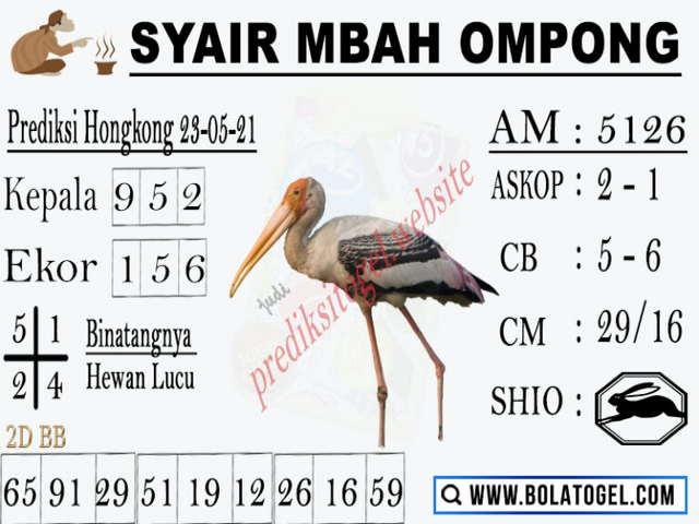 Syair hk mbah ompong 14 januari 2021
