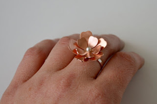 seventh anniversary copper jewelry flower ring