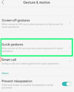 Pengaturan Quick Gestur Oppo A37