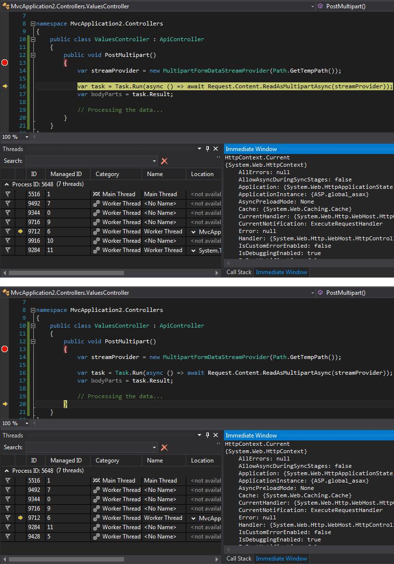 Alexei Matrosov: Web API - async/await and missed HttpContext