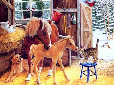 imagen de navidad con caballos