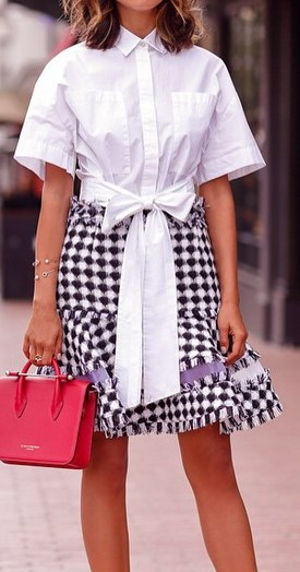 outfit of the day: shirt + skirt + bag