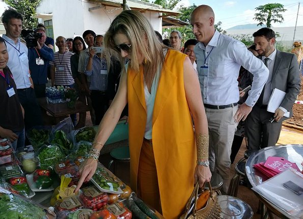 Queen Maxima wore ZARA Vest and Trousers, Queen wore Salvatore Ferragamo sandals and carried Salvatore Ferragamo handbags